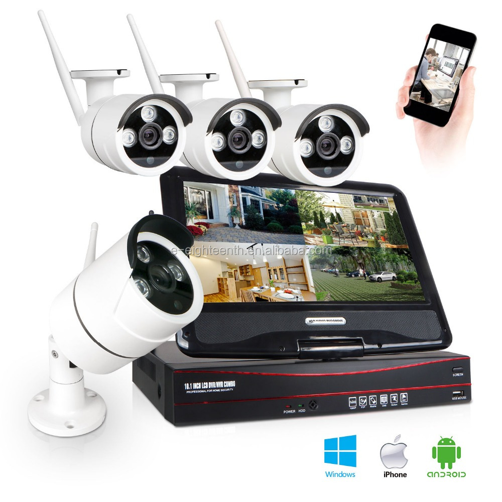 "4CH 10"" LCD Screen Wireless Wifi Surveillance NVR Kits 960P IR Bullet Outdoor camera ip wifi"