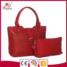 Alibaba 2016 ladies wallet hand set bag wine red pu leather bag pouches and tote bag