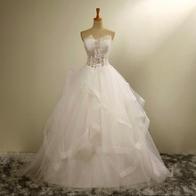 WTY50 2017 Hot Girl Sexy Ball Gown Dress Elegant Princess Real Photos Plus Size Wedding Dress