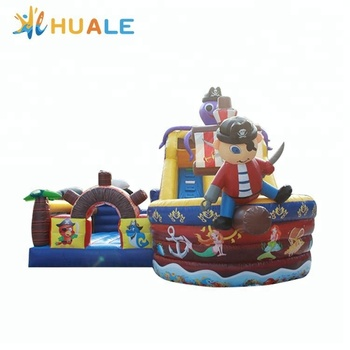 High quality octopus cartoon slide inflatable pirate ship slide inflatable dry slide combo