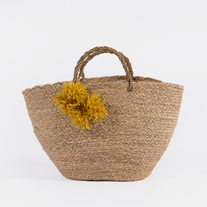 Natural hand woven beach straw seagrass storage bag basket with pompom