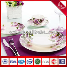 hot sale coupe shape bone china dinnerware set with flower designs (SHQ12-104)