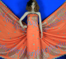 Newest hot sale Big embroidery with flower lace fabric CL4047-2 orange