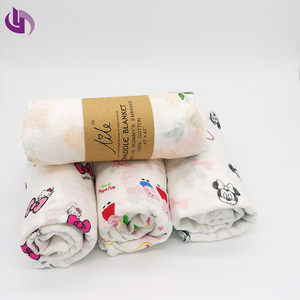 Most popular baby patterned muslin swaddle blanket fabric