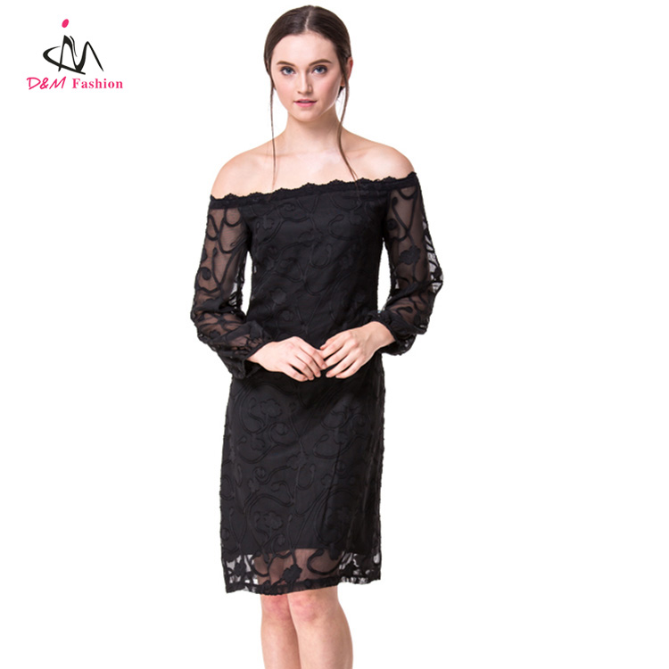 Wholesale Import Ladies See Through Mesh Lace Dresses Black Midi Off Shoulder Women Party Nightclub Sexy Strapless Dress