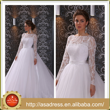 LBSS09 Custom Made Size Wedding Bridal Gown with Train Lace Appliqued Ball Gown Scoop Neck Long Sleeve Wedding Dress