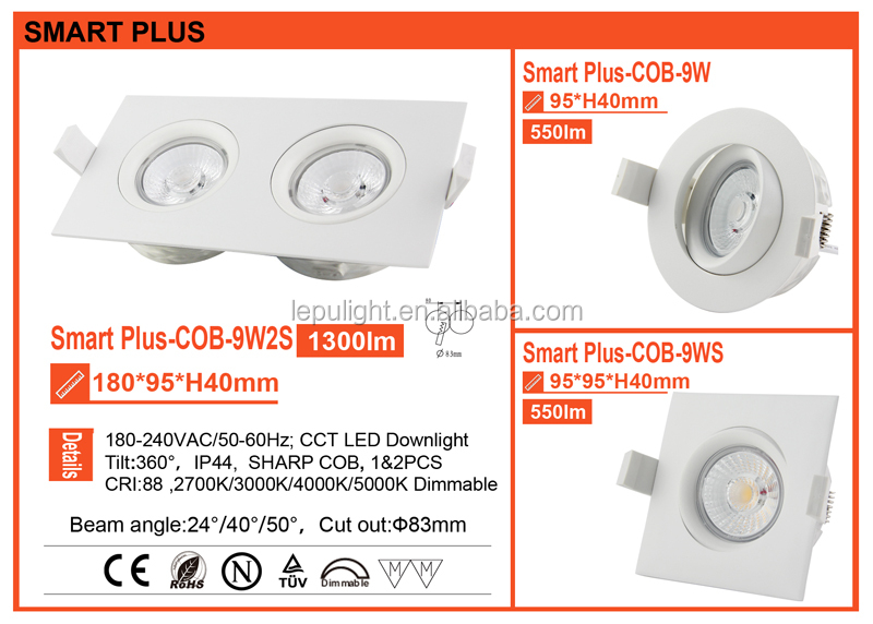 HOT SALE GYRO surface mounted square downlight square cutout :83mm