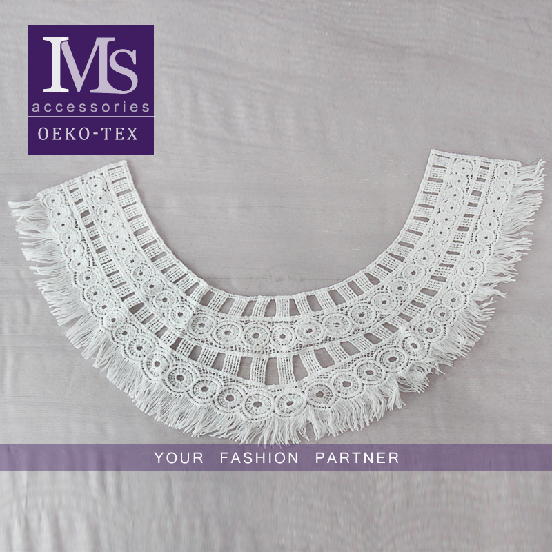 Fashion design polyester white water soluble embroidery fringe collar