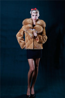 Hot style real sheep skin fur made overcoat women long leather coat