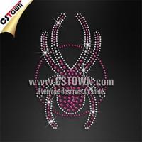 Custom pink spider hotfix rhinestones transfer applique for T-shirt