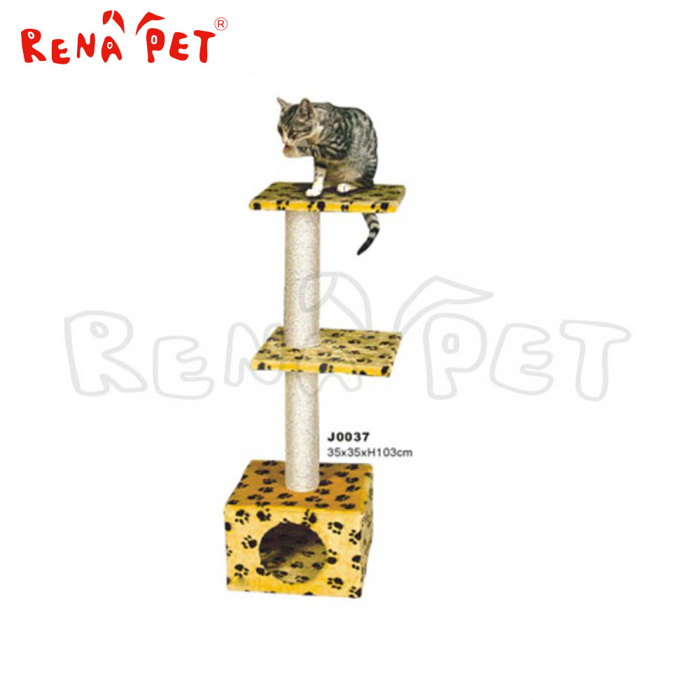three layer yellow cat tree, wooden cat tree,cat in tree