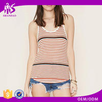 2016 guangzhou shandao oem service summer new arrival knit stripe sleeveless young ladies new design fashion top