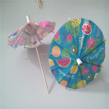 Colorful disposable paper parasol for cocktail umbrella pick