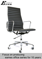 living room office furniture, genuine leather black color high back thinpad with wheels