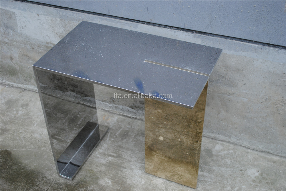polish and golden color combined metal top coffee table