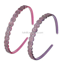 Plastic glitter headband sparkle hair bands with small teeth