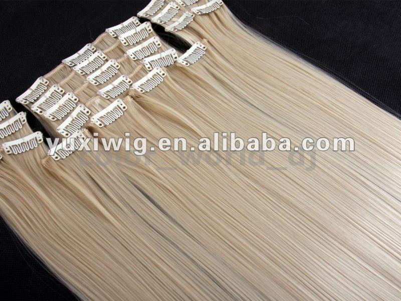 .various color good quality clip on hair extensions with highlights