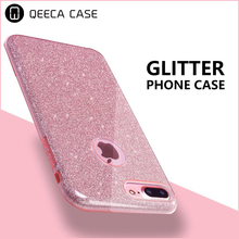 Shiny Glitter Case, Bling Crystal Clear Slim Premium 3 Layer Hybrid Case for iPhone 6 6S 7