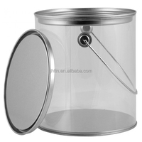Alibaba China sell metal lid and bottom and handle 1000ml clear sided PET bucket