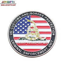 US customs shiny nickel challenge coin with colored snake and 3D metal officer badges