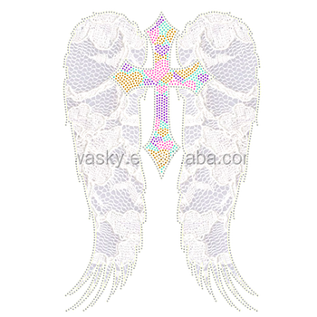 iron on lace&domestud heat transfer motif cross feather wings design