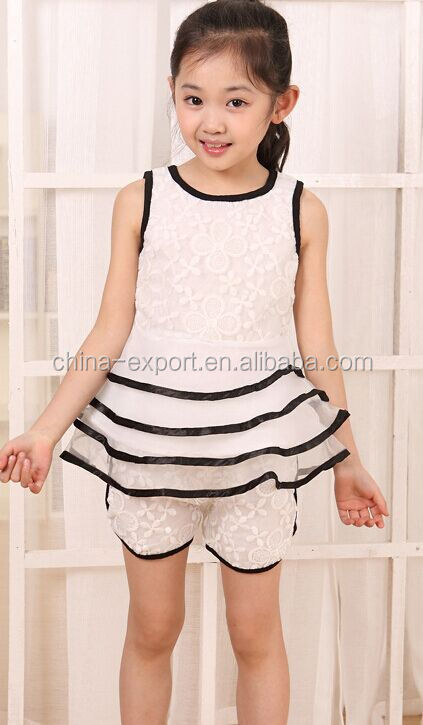 ziji12 2015 wholesale fashion hot sale new summer girls white lace top dress+shorts princess girls fresh dress suits