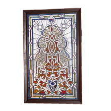 Tiffany Style Jeweled Beveled stained glass window panel