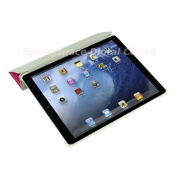 For iPad Mini Single Front Wake Sleep Hardware Leather Smart Cover - Pink