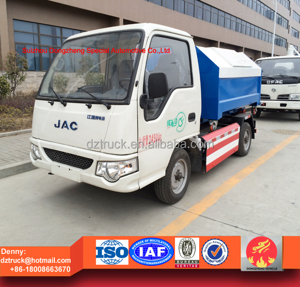 2016 new arrival JAC pure electric hook lift waste collection truck