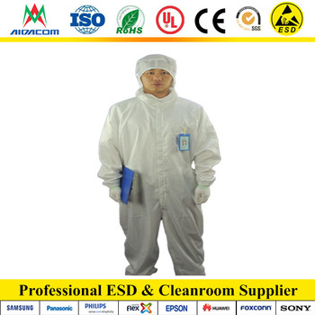 5mm stripe or grid Polyester ESD coverall, Cleanroom antistatic ESD Overall