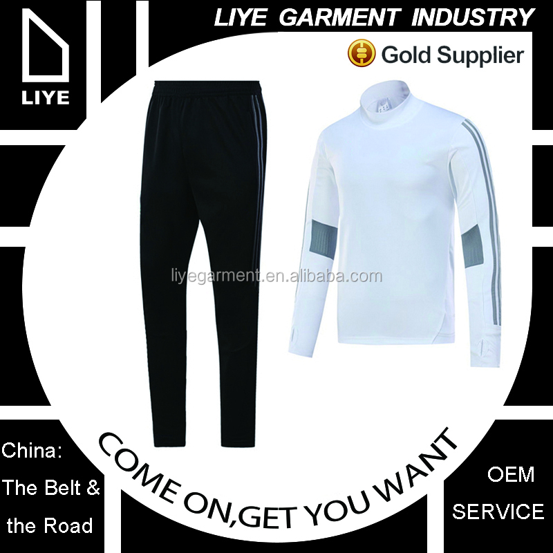 China manufactory customer white men soccer tracksuit with black pants