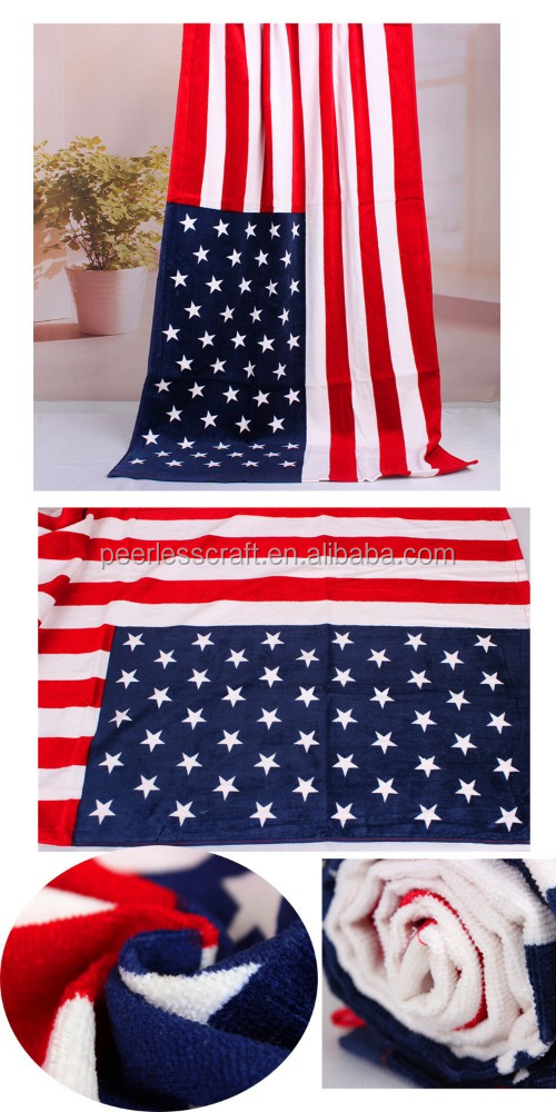 100% Cotton Reactive Printed American Flag Beach Towels