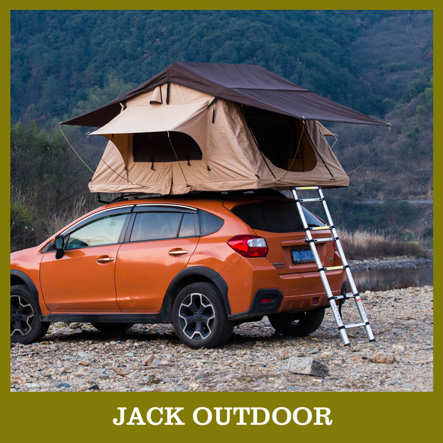 easy set up and folding camping canvas car roof top tent with green color