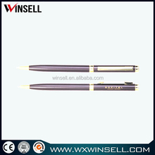 high quality red color metal twist ball pen slim