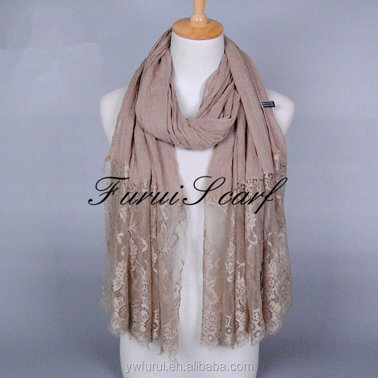 Luxury Cotton Viscose Maxi Scarf Premium Quality Pretty Lace Floral Long Muslim Hijab Shawls Wrap Islamic Head Scarves