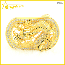 yellow plated stainless steel iced out hip hop dragon belt buckle manufacturers