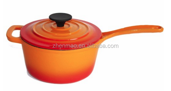 cast iron two handle saucepan with lid