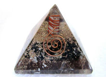 Black Tourmaline Pyramids with copper wrapped point