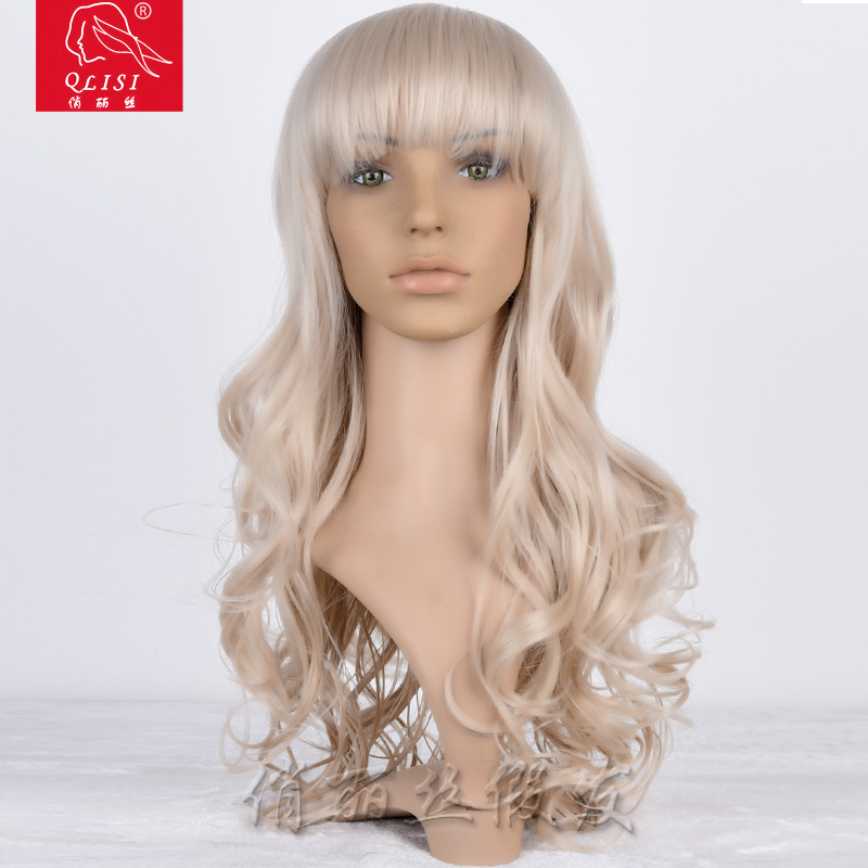 20 22 24 26 28 30 inch blonde synthetic material human hair full lace wig
