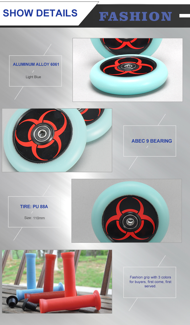Wholesale factory cheap price high quality gloom in dark PU-88A ABEC-9 chromoly stunt pro 100mm 3 wheels for scooter