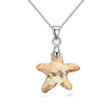 Golden Color Starfish Crystal Pendant Necklace Made With Swarovski element Plated By 18K White Gold