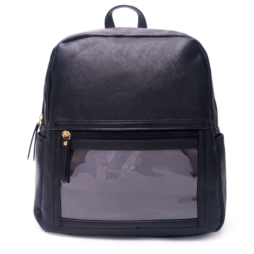 Wholesale PU Display Backpack Solid Black Show Off Essential Oil Backpack PVC WOW Serape Shoulder School Pack DOM-1081023
