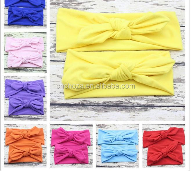 Z54391B Wholesale Mommy & Me Small Rabbit Ear Knotted Headband Baby Girls Cotton Stretch Hairbands