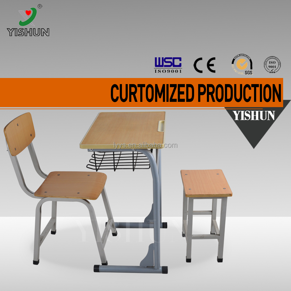 Modern school furniture library furniture classroom chair and desk attached