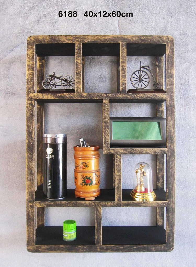 Decorative antique mdf round cube wall decor shelf for livingroom