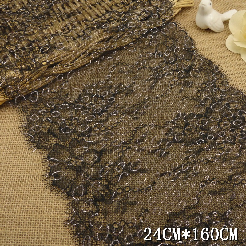 24cm width stocklot fancy design with black flower eyelash lace