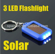 led solar torch key chain/ key holder ,mini solar 3led key ring,solar led flashing keychain