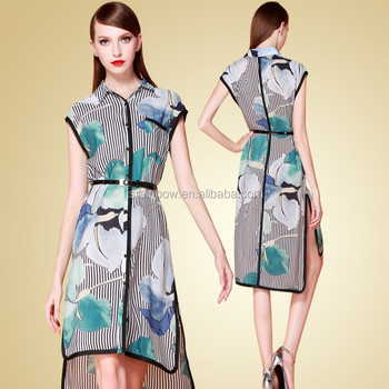 Silk dress with belt , long paragraph lapel single-breasted female dress