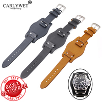 CARLYWET 20mm CUSTOM Black Brown Dark blue Calf Cowhide Leather Pad Wrist Watch Band For DAYTONA OYSTER GMT DATEJUST
