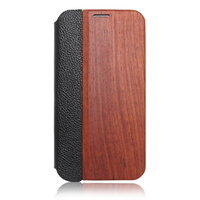 The flip wood + leather case for samsung galaxy s5 high quality mobile phone hull